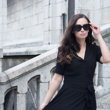 Portrait of Winnipeg fashion blogger Cee Fardoe of Coco & Vera wearing Celine Audrey sunglasses and an Ivy & Oak dress