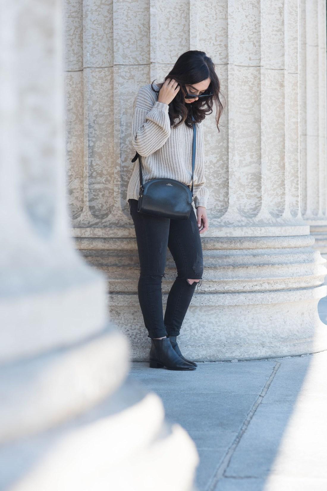 Fashion blogger Cee Fardoe of Coco & Vera wears a Tobi lace-up sweater, Acne Studios boots and APC halfmoon bag