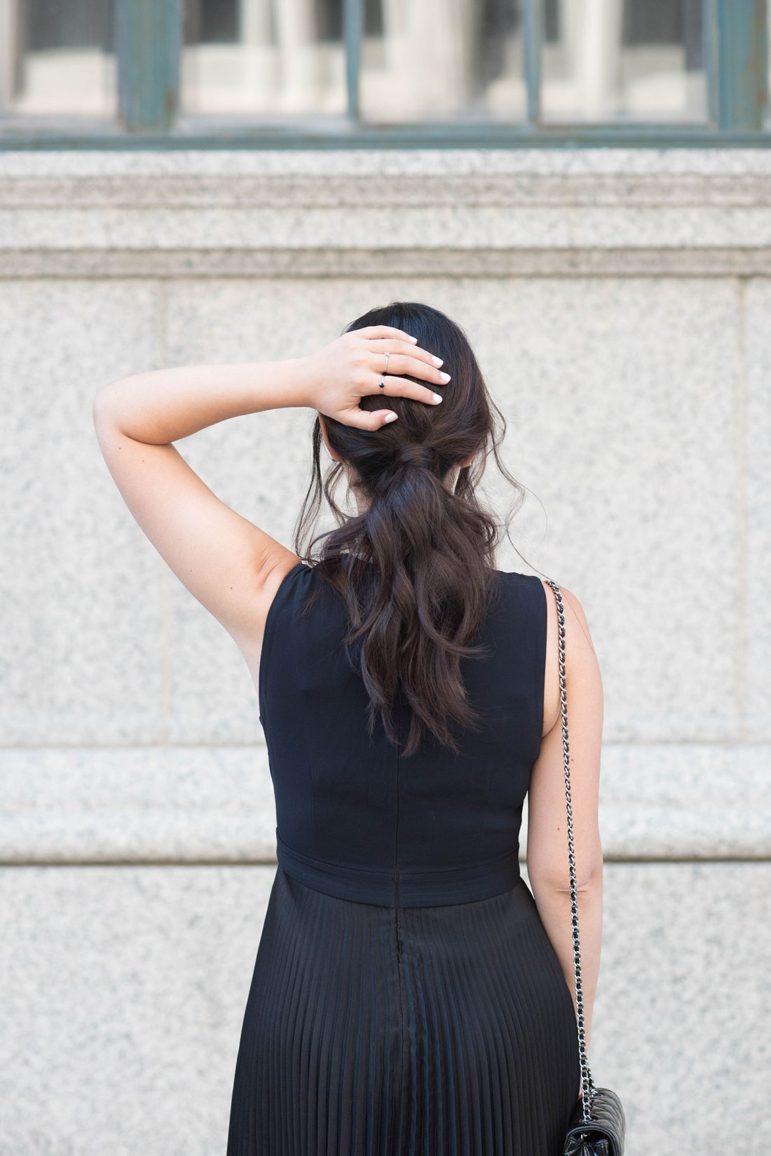 Close-up of a night out ponytail on fashion blogger Cee Fardoe of Coco & Vera, styled by Fran Rizzutto
