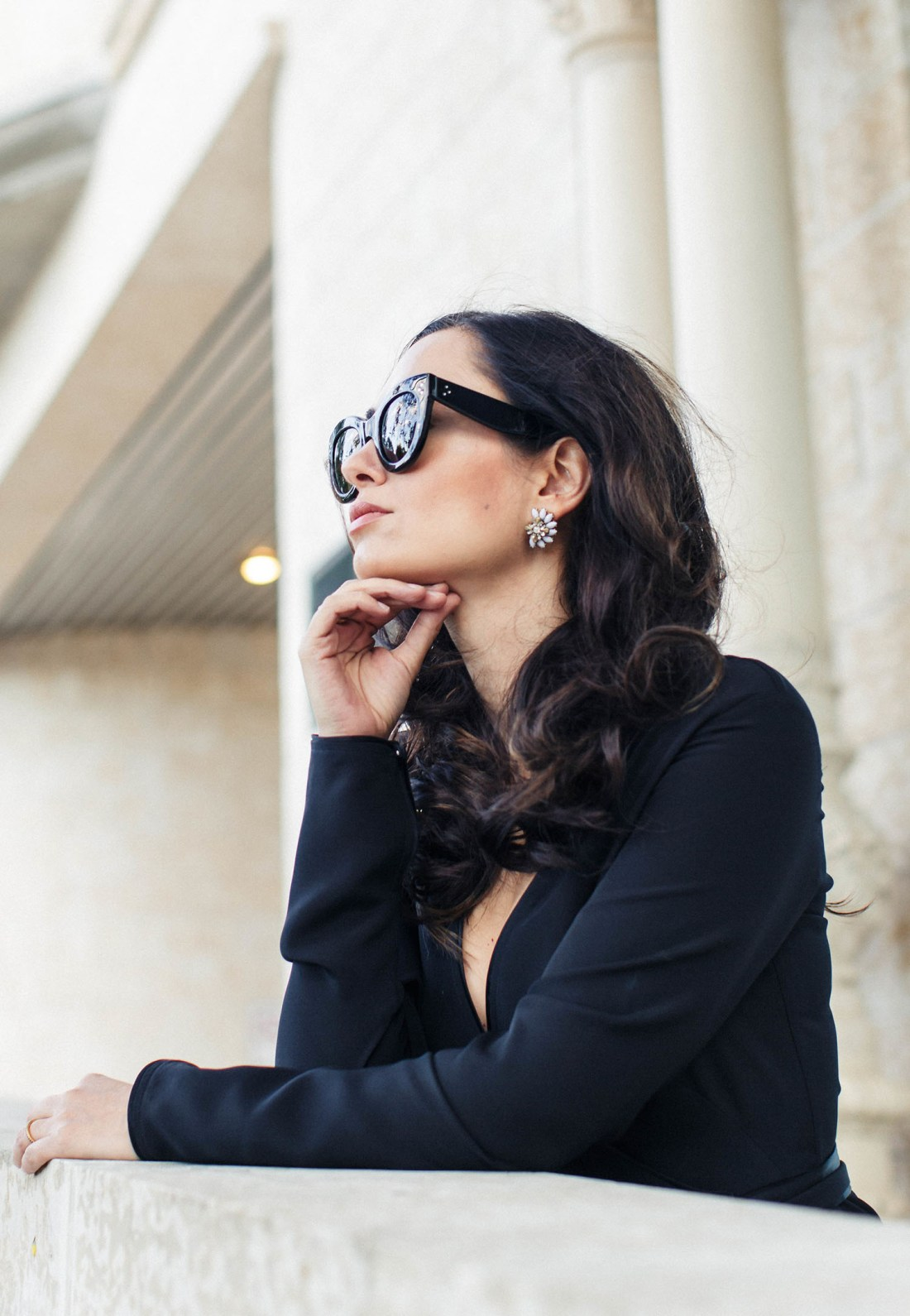 Portrait of fashion blogger Cee Fardoe of Coco & Vera, wearing Oliver + Piper marble statement earrings and Celine sunglasses, captured by Christa Wong Photography