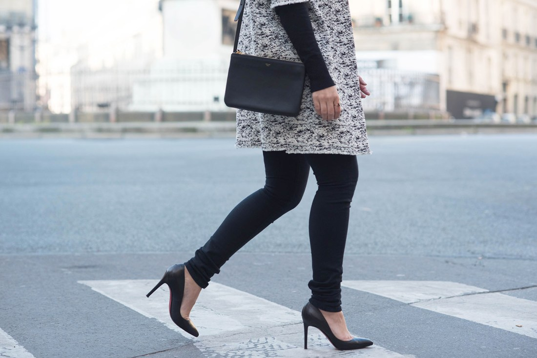 Outfit details on fashion blogger Cee Fardoe of Coco & Vera, including a Celine trio bag and black Mavi skinny jeans