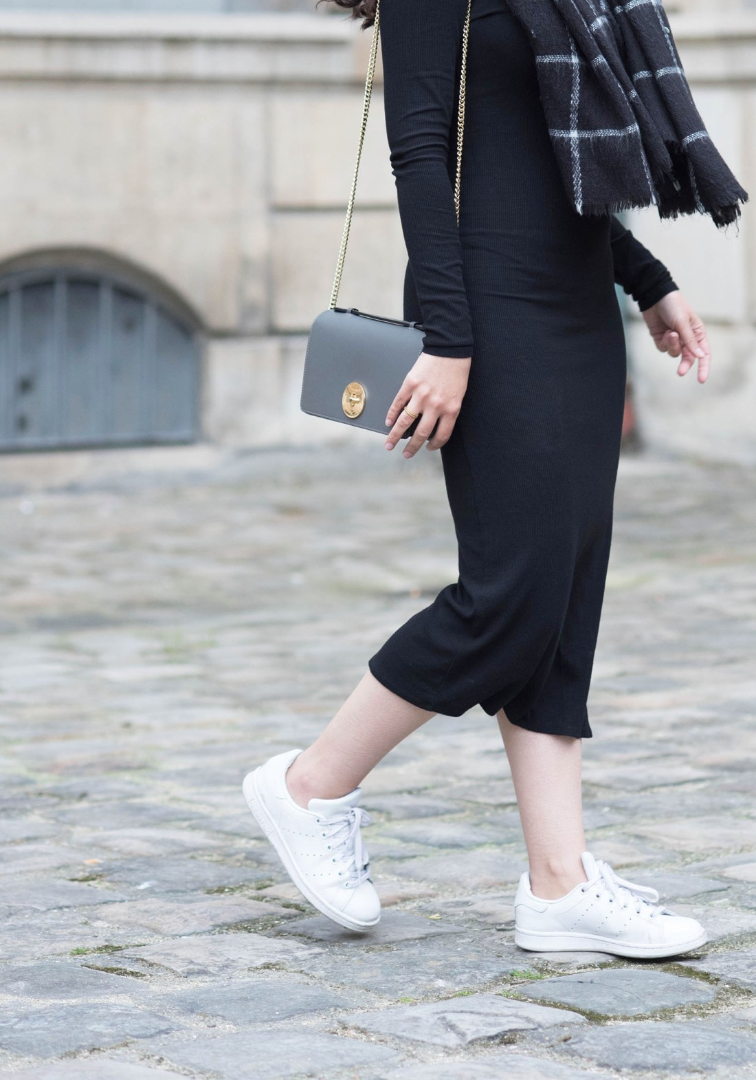 Outfit details on Canadian fashion blogger Cee Fardoe, including a Privacy Please midway dress and Camelia Roma handbag
