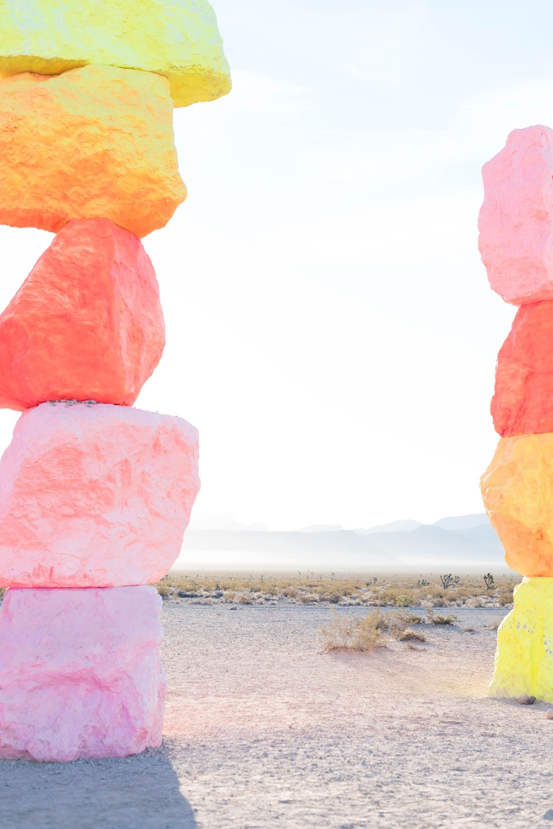 Two pink and orange columns at Seven Magic Mountains, photographed by travel blogger Cee Fardoe of Coco & Vera