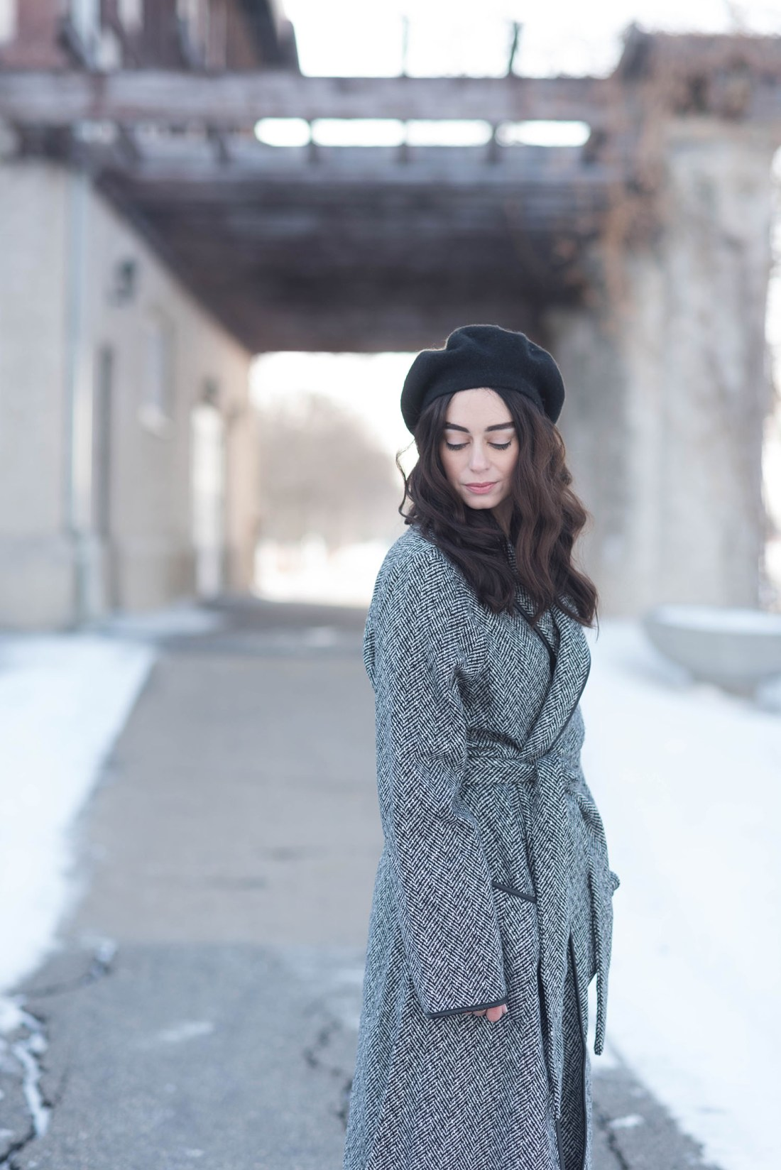 Portrait of Canadian fashion blogger Cee Fardoe of Coco & Vera, wearing an Anthropologie Bonnie beret and Lovers + Friends Monica coat