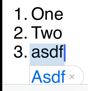 Autocorrection bubble fix