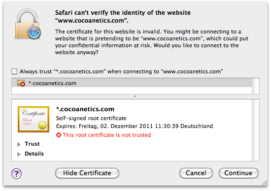 NSURLConnection with Self-Signed Certificates | Cocoanetics