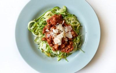 "Espaguetis de calabacín con ""sojañesa"""