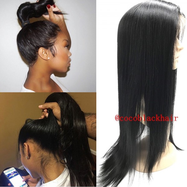 360 Virginal Hair Light Yaki Lace Front Lace Closure 360