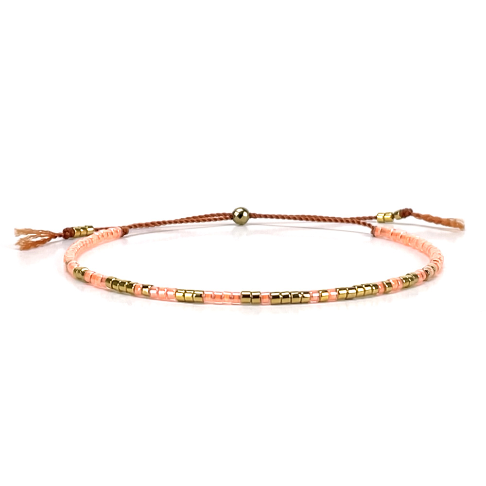 Morse code bracelet - pink mango
