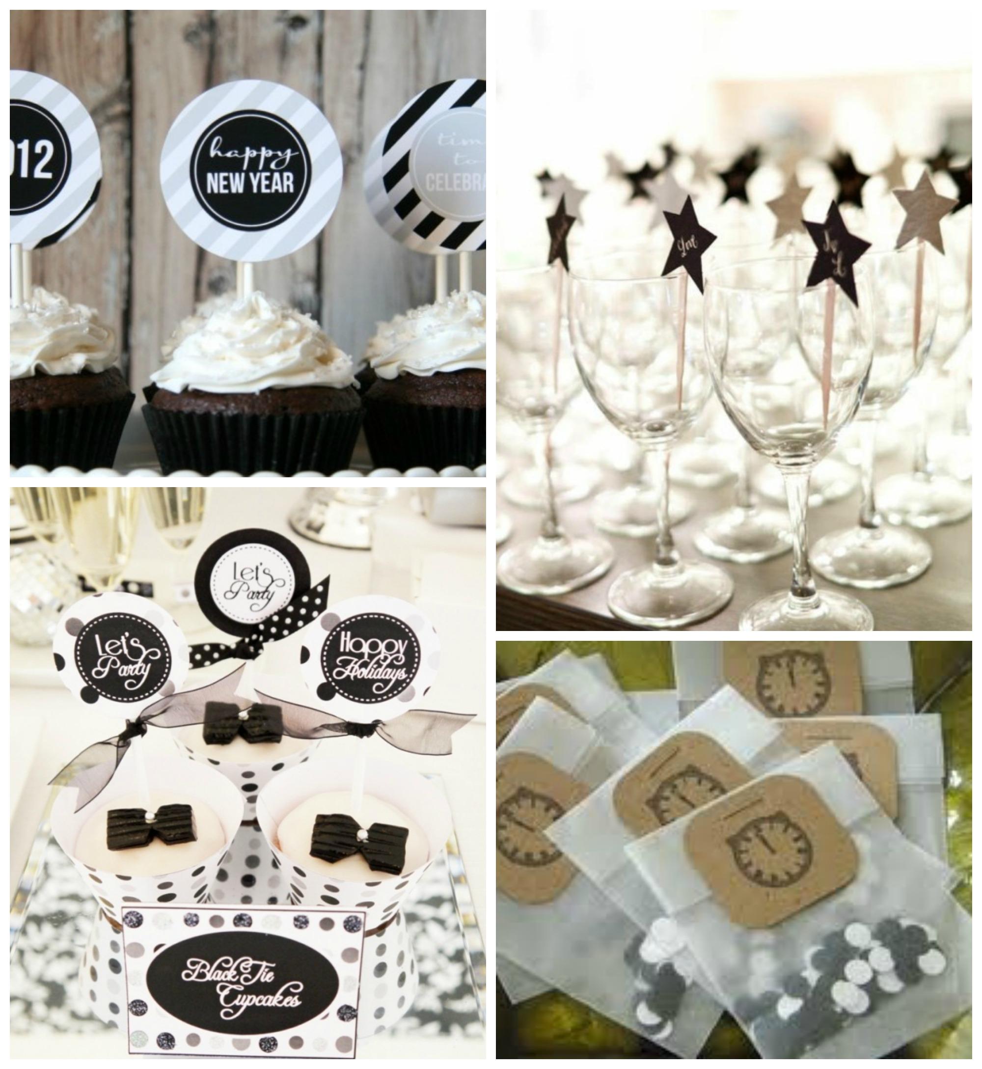 deco table nouvelle annee noir et blanc