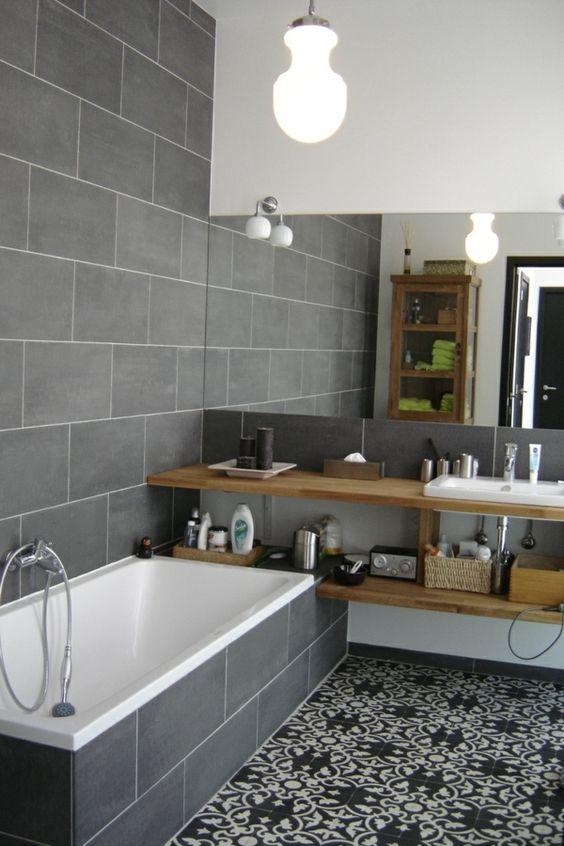 salle de bain grise carreaux de ciment sol