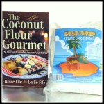 Coconut Flour and Gourmet Book and Gold Dust