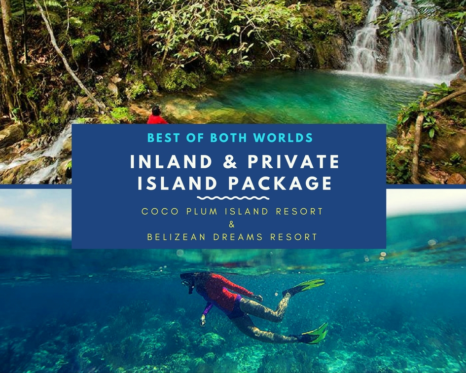 Belize Inland and Island All Inclusive Package includes waterfall hiking tours and snorkeling tours