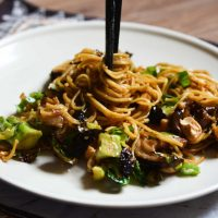 Hoisin Noodles with Brussels Sprouts, Broccoli, and Shiitake