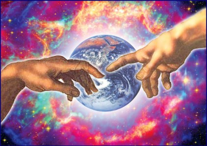 Michelangelo hands across space