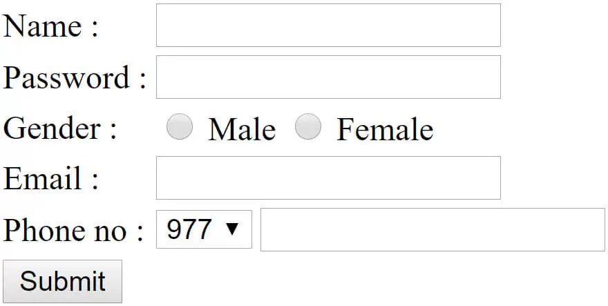 Registration form in HTML
