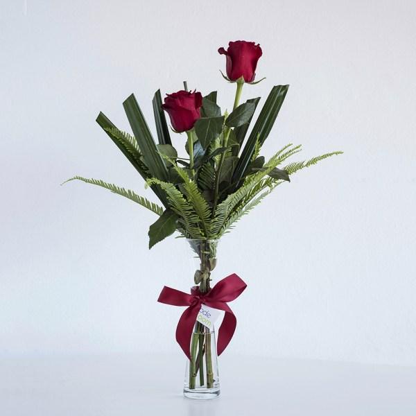 Red Roses in Bud Vase