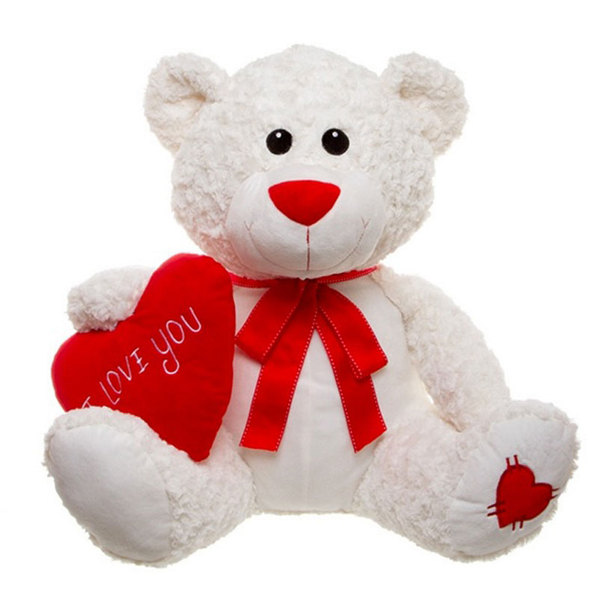 cute white teddy bear with a red heart