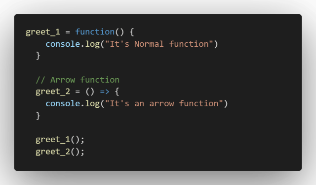 Arrow function in javascript
