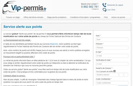 """Vip-permis.fr et son """"alerte aux points"""""""