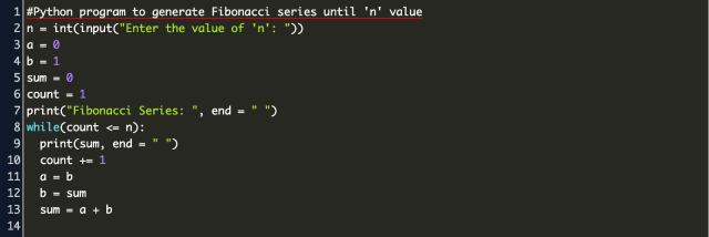 fibonacci series using while loop in python Code Example
