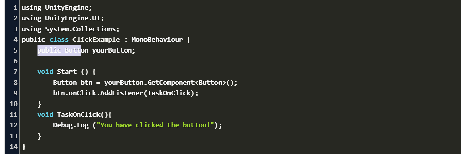 how to add onclick event to button script in unity Code Example