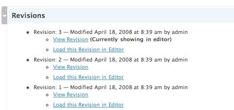 Revisions plugin admin interface