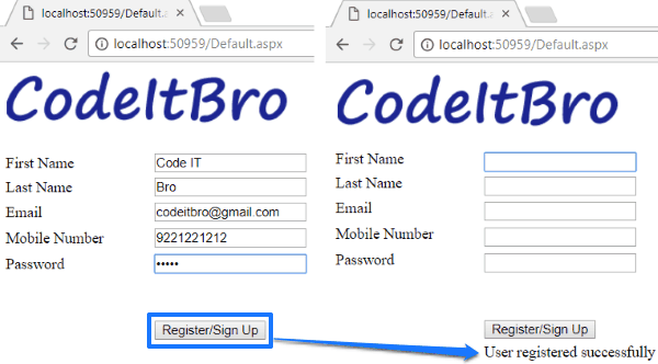 How to create ASP.NET Registration Form Using C# and SQL Server Database