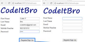 asp.net registation form
