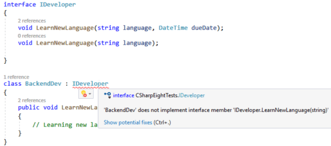 C# 8: Default Interface Methods Implementation: C# compilation error - interface member not implemented