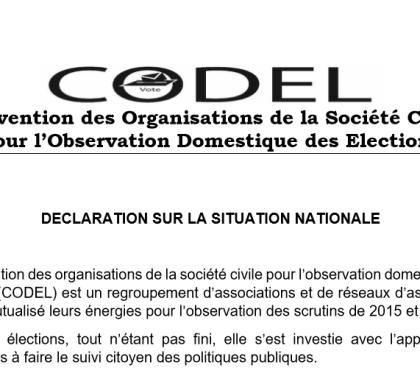 CODEL : DÉCLARATION LIMINAIRE DE LA CONFÉRENCE DE PRESSE DU 11-10-2018