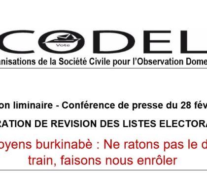 Déclaration liminaire : Conférence de presse sur la phase de révision des listes électorales.