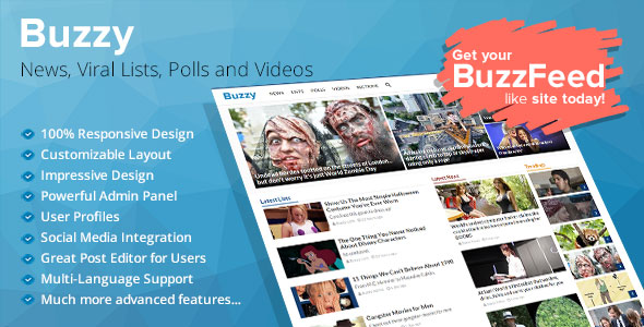 Buzzy v4.0.0 - News, Viral Lists, Polls and Videos - nulled