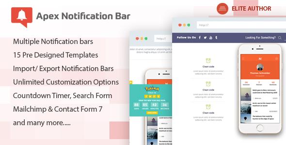 Apex Notification Bar v2.0.8 - Responsive Notification Bar Plugin for WordPress