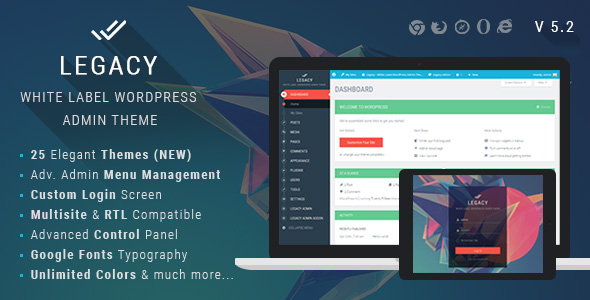Legacy v5.2 - White label WordPress Admin Theme