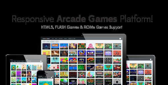 Responsive HTML5, Flash Games & ROMs Games Platform – Arcade Game Script v1.2.2