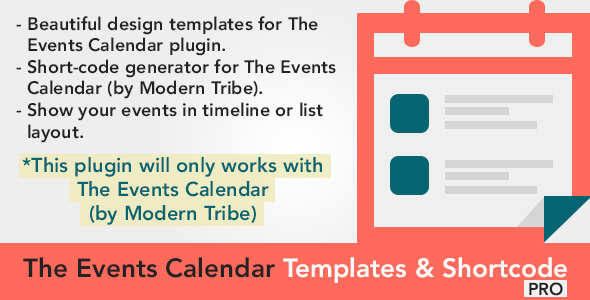 The Events Calendar Shortcode and Templates v1.2