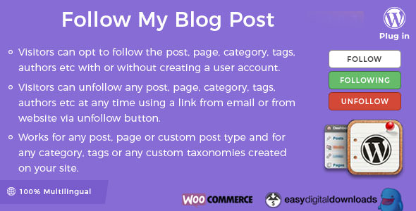 Follow My Blog Post WordPress Plugin v1.9.6