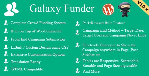 Galaxy Funder v10.6 - WooCommerce Crowdfunding System