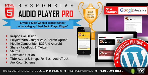 Responsive HTML5 Audio Player PRO v2.6