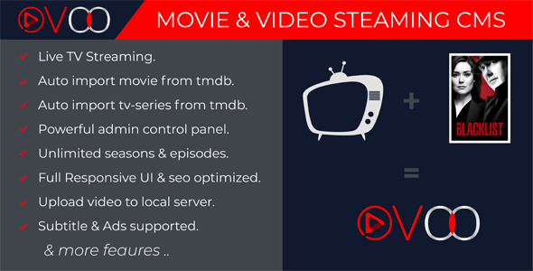 OVOO v2.5.7 – Movie & Video Streaming CMS with Unlimited TV-Series