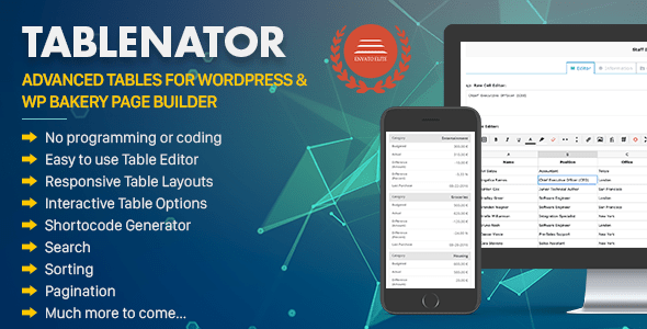 Tablenator v2.0.2 – Advanced Tables for WordPress