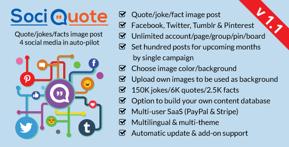 SociQuote v1.1 - Quotes/Jokes/Facts Image Post in Auto-Pilot