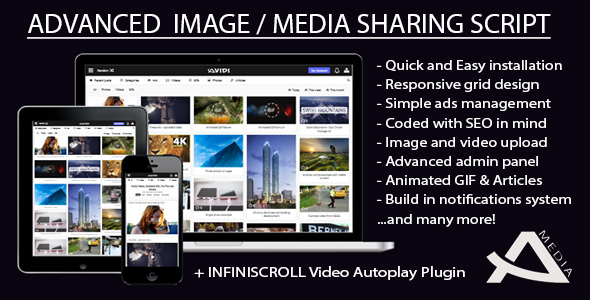 Avidi Media v1.1 - Advanced Image, Video, Audio and Gif Sharing Script