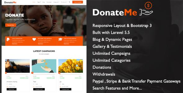 DonateMe v1.1 – Crowdfunding Laravel Script