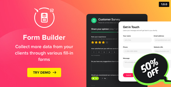 Form Builder v1.0.0 – WordPress Form plugin