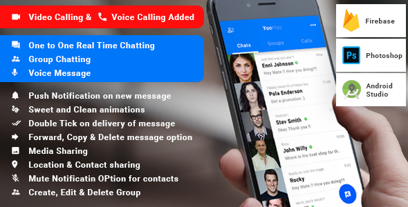 YooHoo v4.1 – Android Chatting App with Voice/Video Calls, Voice messages + Groups -Firebase | Complete App