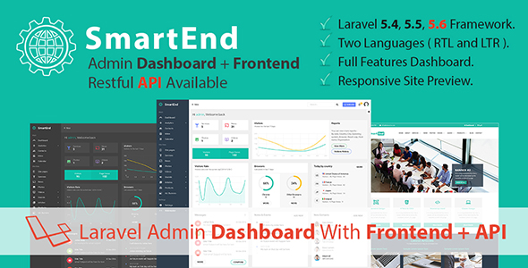 SmartEnd v4.4 - Laravel Admin Dashboard with Frontend and Restful API
