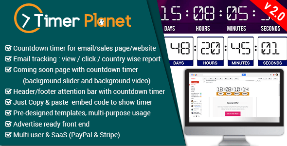 TimerPlanet v2.0 – email,website & attention bar countdown timer