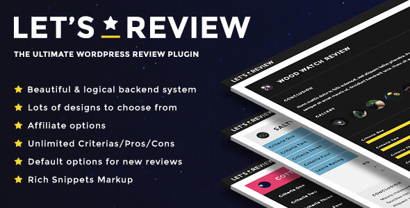 Let's Review v2.5.1 - WordPress Plugin With Affiliate Options